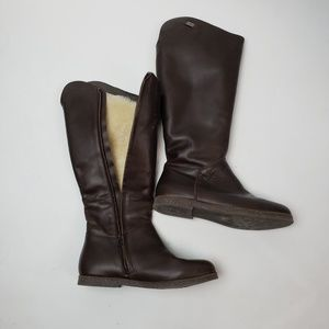 Emu Australia Brown Leather Sheepskin Boots sz 7